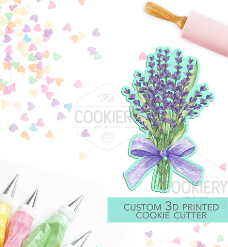 Lavender Bouquet Cookie Cutter, Sprig of Lavender Flowers Cookie Cutter - 3D Printed Cookie Cutter - TCK48172