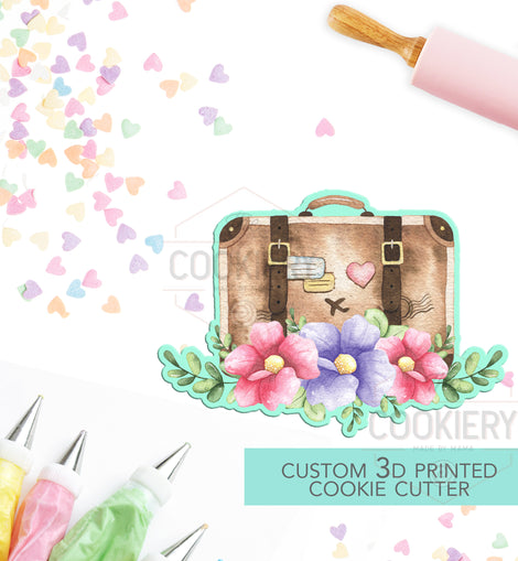 Floral Suitcase Cookie Cutter - Floral Luggage Cookie Cutter  - 3D Printed Cookie Cutter - TCK74132