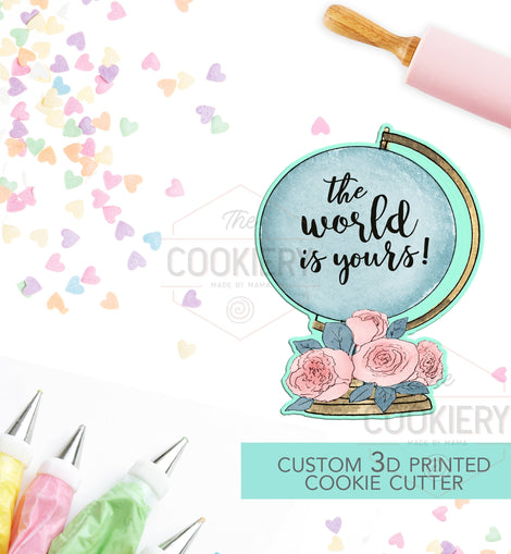 Floral Globe Cookie Cutter - World Globe Cookie Cutter  - 3D Printed Cookie Cutter - TCK52123
