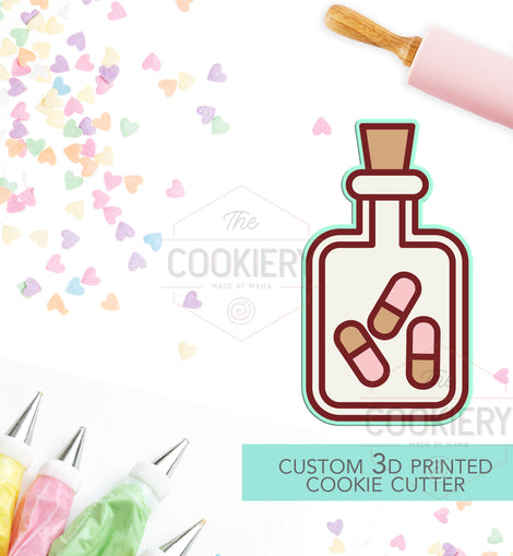 Pill Bottle Cookie Cutter, Nurse Appreciation Cookie Cutter - 3D Printed Cookie Cutter - TCK58118