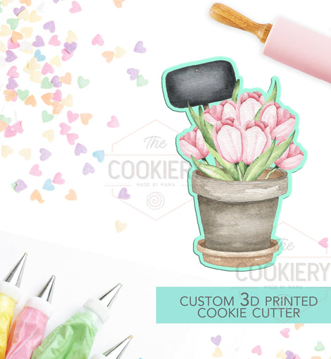 Potted Flowers with Sign Cookie Cutter, Spring flowers Cookie Cutter - 3D Printed Cookie Cutter - TCK13124