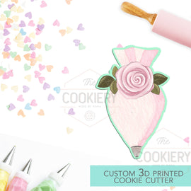 Floral Chubby Piping Bag Cutter, Baking and Cooking Cookie Cutter - 3D Printed Cookie Cutter - TCK25103
