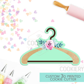 Floral Hanger Cookie Cutter - Hanger Cookie Cutter -  Fashion Cookie Cutter - 3D Printed Cookie Cutter - TCK26138