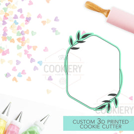Rounded Hexagon Leaf Plaque Cookie Cutter - Wedding Floral Cookie Cutter Plaque - 3D Printed Cookie Cutter - TCK39100