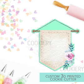Floral Hanging Banner Flag Cookie Cutter -  Cookie Cutter Banner  - 3D Printed Cookie Cutter - TCK39101
