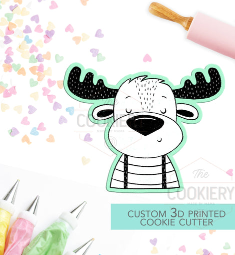 Hipster Moose Cookie Cutter - Canada Day Moose Cutter  - 3D Printed Cookie Cutter - TCK28125