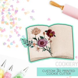 Fall Notebook with Dried Flowers - Rustic Autumn Cookie Cutter - 3D Printed Cookie Cutter - TCK86129