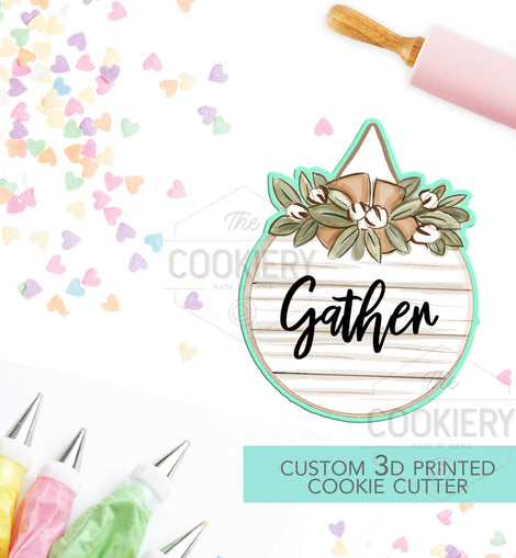 Floral Hanging Sign Cutter - Rustic Autumn Cookie Cutter - 3D Printed Cookie Cutter - TCK86139