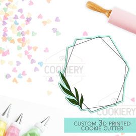 Geometric Plaque with Leaves Cookie Cutter - Wedding Floral Cookie Cutter Plaque - 3D Printed Cookie Cutter - TCK39104