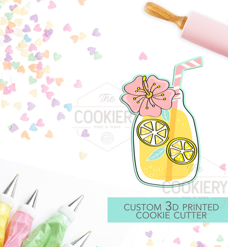 Floral Lemonade Cookie Cutter - Summer Cookie Cutter  -  3D Printed Cookie Cutter - TCK29100