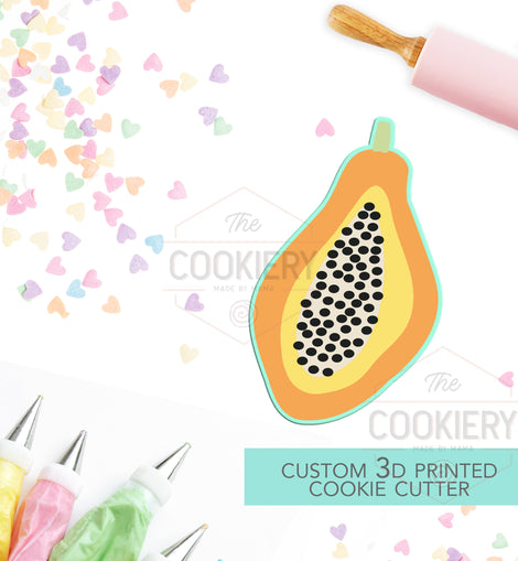 Summer Papaya Cookie Cutter - Summer Cookie Cutter  -  3D Printed Cookie Cutter - TCK29104