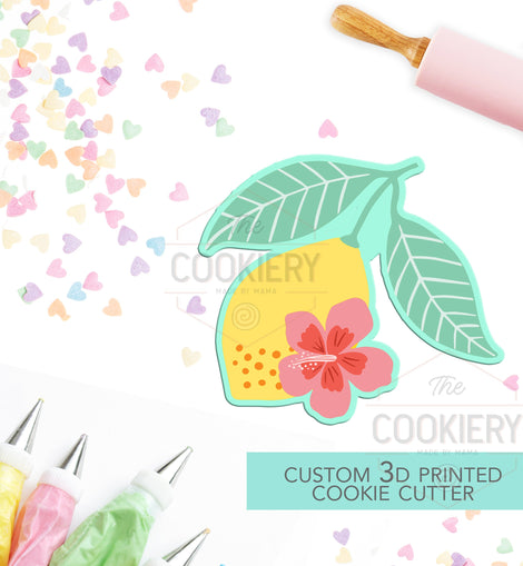 Floral Lemon Cookie Cutter - Summer Cookie Cutter  -  3D Printed Cookie Cutter - TCK29103