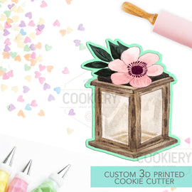 Floral Lantern Cookie Cutter - Rustic Autumn Cookie Cutter - 3D Printed Cookie Cutter - TCK86121
