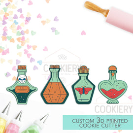 Halloween Potions, Poison Bottles Cookie Cutter Set - Halloween Cookie Cutter - 3D Printed Cookie Cutter - TCK63113