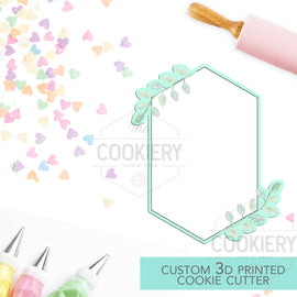 Tall Hexagon with Leaves Cookie Cutter - Wedding Floral Cookie Cutter Plaque - 3D Printed Cookie Cutter - TCK39103
