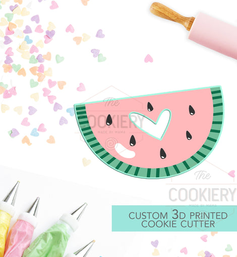 Watermelon with Heart Cut Out Cookie Cutter - Summer Cookie Cutter  -  3D Printed Cookie Cutter - TCK29102
