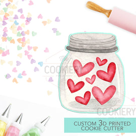 Chubby Jar of Love Cookie Cutter - Valentine's Day Cookie Cutter -  3D Printed Cookie Cutter - TCK44149