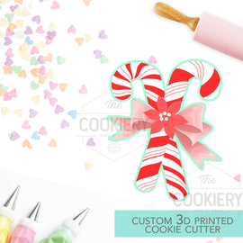 Double Candy Cane with Bow Cookie Cutter - Christmas Cookie Cutter - Winter Cutter -   3D Printed Cookie Cutter - TCK85112