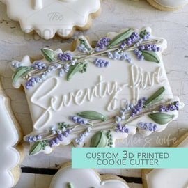 Floral Rectangular Plaque Cookie Cutter - Floral Plaque Cookie Cutter -   3D Printed Cookie Cutter - TCK45231
