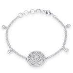 .5 Ct Rhodium Bracelet with Interlocking Circles and CZ