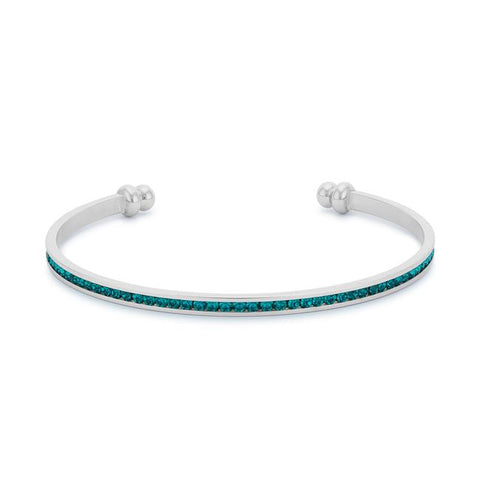 Channel Set Turquoise Cubic Zirconia Cuff