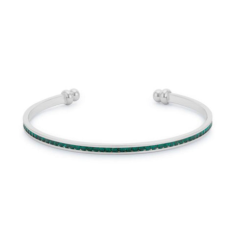 Channel-Set Emerald Green Cubic Zirconia Cuff