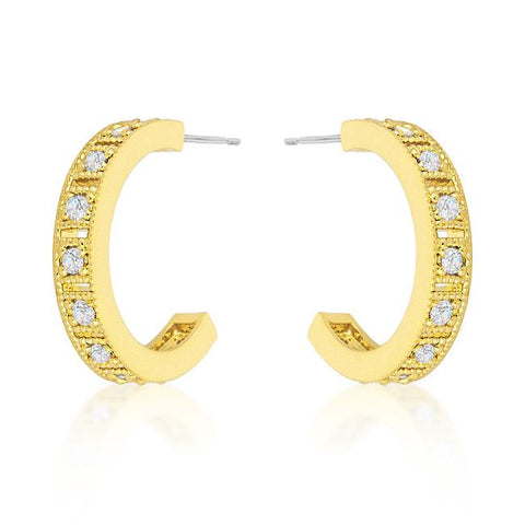 Roma Goldtone Finish Crystal Hoop Earrings