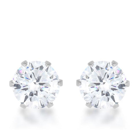 Reign 3.4ct CZ Stainless Steel Stud Earrings