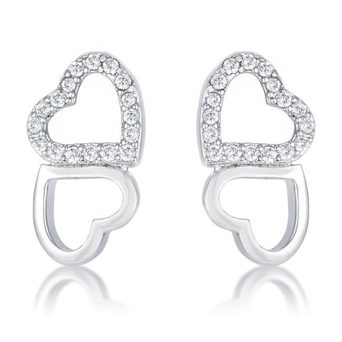 .17 Ct Melded Hearts and CZ Stud Earrings