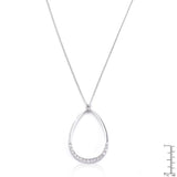 Rhodium Plated Crystal Teardrop Necklace