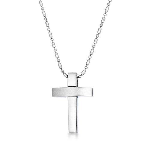 Contemporary Stainless Steel Cross Necklace