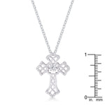 .33Ct Rhodium Plated Dancing CZ Vintage Cross Pendant