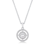 .9Ct Timeless Double Pave Circle Dancing CZ Pendant