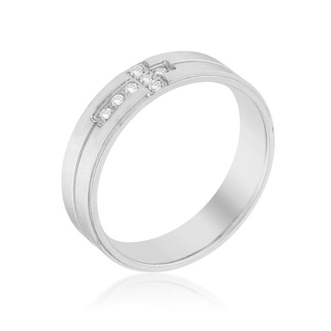 Men's Band Ring with Cubic Zirconia Cross Design