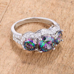 4 Ct Three Stone Ring with Mystic and Clear CZ
