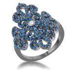 Victoria 1.23ct Sapphire CZ Hematite Filigree Cocktail Ring