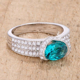 1.6 Ct Aqua Oval CZ Ring