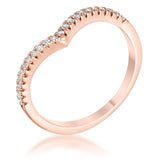 .22Ct Rose Goldtone Chevron Ring with CZ