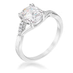 1.3Ct Rhodium Plated Simple Engagement Ring