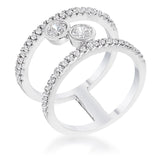 .86Ct Rhodium Plated Floating Bubbles CZ Ring