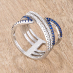 .46Ct Blue and Clear CZ Micro Pave Crossover Ring