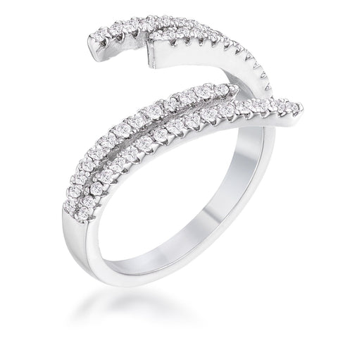 1.12 Ct Delicate Rhodium Plated CZ Wrap Ring