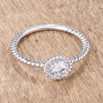 .45Ct Rhodium Plated Mini Twisted Rope CZ Solitaire Ring