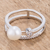 .15Ct CZ and Freshwater Pearl Contemporary Double Band Ring