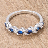 .18Ct Rhodium S Shape Sapphire Blue and Clear CZ Half Eternity Band