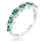 .18Ct Rhodium S Shape Emerald Green and Clear CZ Half Eternity Band