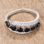 1.06 Ct Black & Clear CZ Half Eternity Ring