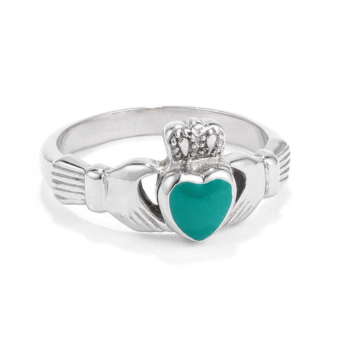 Stainless Steel Irish Claddagh Ring with Green Enamel Heart