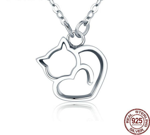 .925 Sterling Silver Stylish Cat Necklace