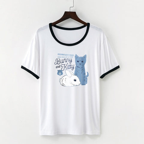 Cat Rabbit Print T-Shirt